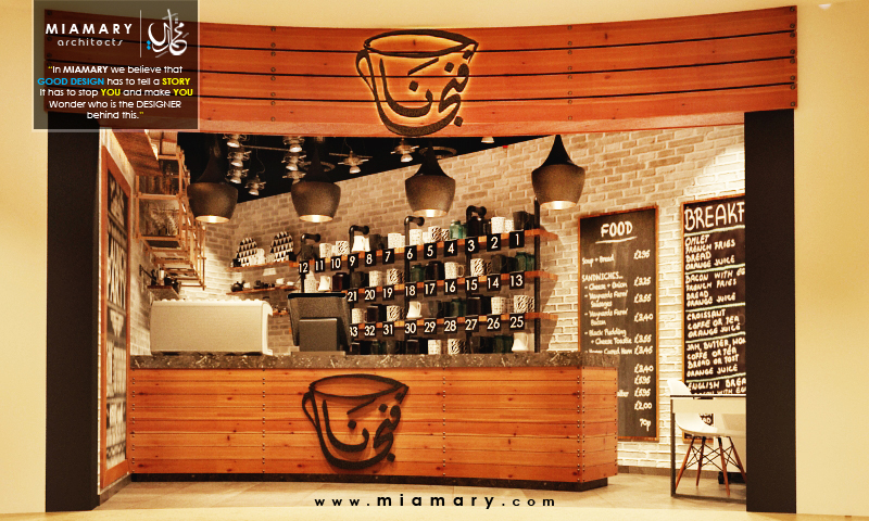 interior design for Cafe| Fingan Cafe Mirage Mall Branch